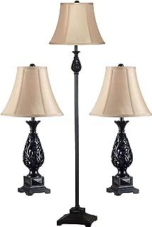 Kenroy Home 21017GFBR Prescott 3 Piece Lamp Set, Table Lamps - 27 Inch Height, 13 Inch Diameter Floor LAMP - 55 Inch Height, 14 Inch Diameter, Golden Flecked Bronze