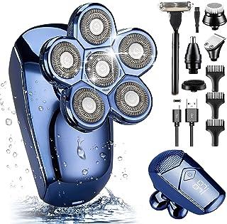 ریش تراش سر برای مردان طاس ، AJVEQORD ارتقاء تیغ برقی 6 در 1 برای مردان ریش تراش قابل شارژ بدون سر شارژ IPX7 کیت تمیز کردن ماشین اصلاح روتاری خشک و ضد آب