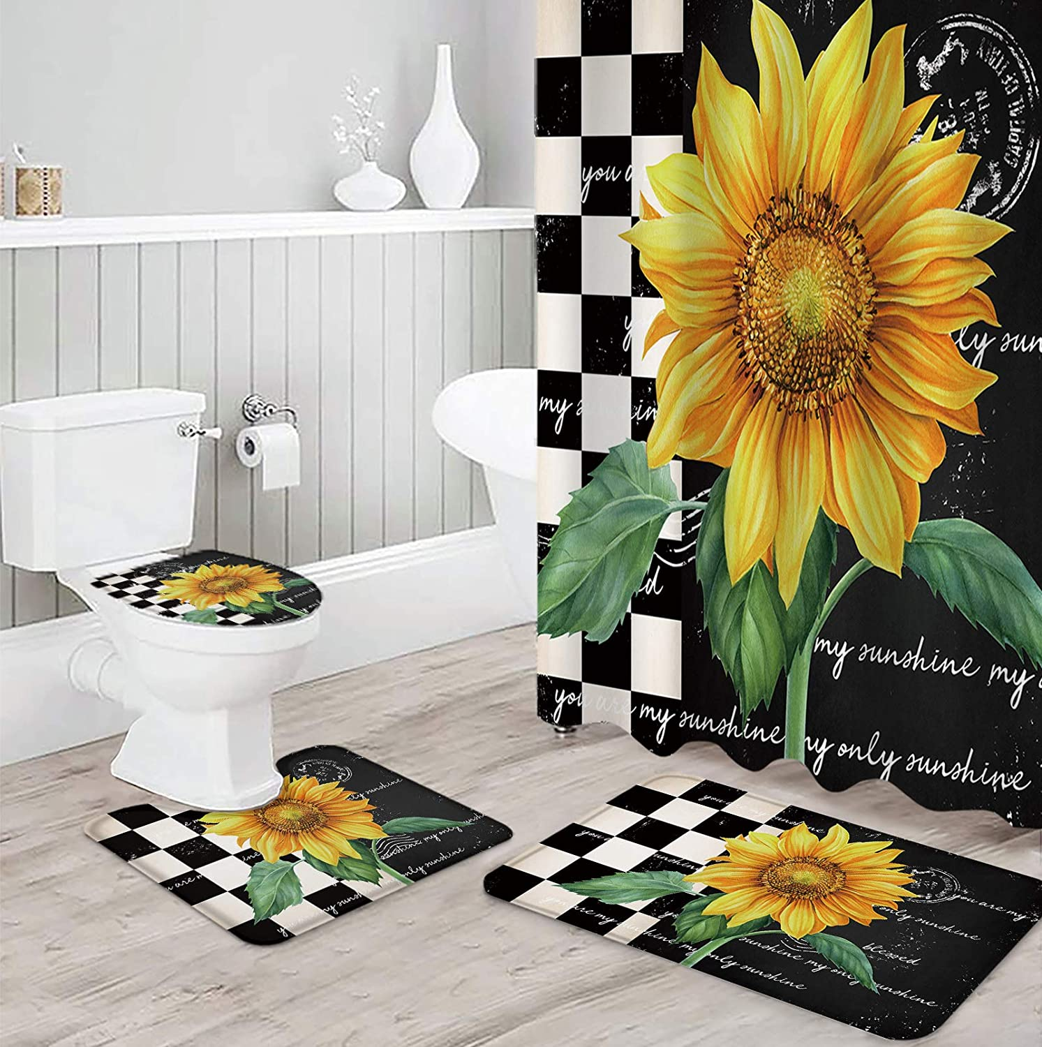 Phoenix Mall OneHoney OFFer Shower Curtain Sets 4 Pieces Farm Rugs with Wa Non-Slip