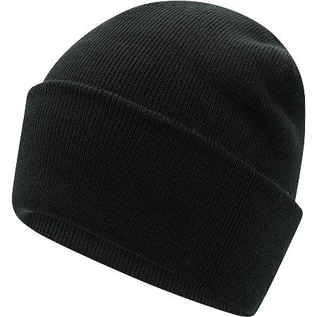 Deep Ocean 3-in-1 Black Turn Up Beanie Hat Soft Feel 100% Acrylic Mens Womens