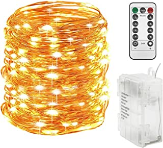 Twinkle Star 300 LED 99 FT Copper Wire String Lights Battery Operated 8 Modes with Remote, Waterproof Fairy String Lights ...