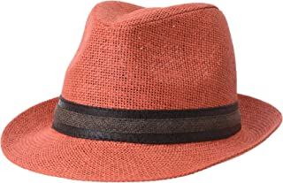 f51d04d8 WITHMOONS Fedora Hat Summer Cool Paper Straw Trilby Faux Leather Banded for Men  Women CR6952