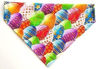 Easter Eggs Rainbow Colors Slip On Thread Thru Over the Collar Reversible Dog Bandana, Petwear Doggie Bib Accessories Doo Rag