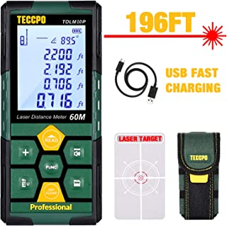 Laser Measure 196ft TECCPO Pro with Li-ion Battery, 99 Sets Data Storage, Electronic Angle Sensor, 2.25' LCD Backlit, Mute Function, Measure Distance, Area, Volume and Pythagoras - TDLM10P