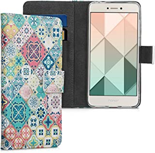 kwmobile Wallet Case for Huawei P8 Lite (2017) - Protective PU Leather Flip Cover with Magnetic Closure, Card Slots and Kickstand Blue 40891.14