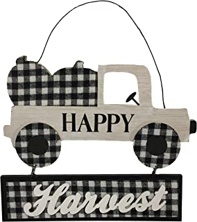 Nantucket Home Fall Happy Harvest Rustic Truck with Pumpkins Black and White Buffalo Plaid Wood Hanging Plaque Sign