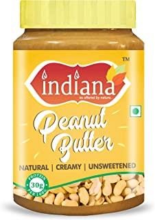 INDIANA Natural Peanut Butter (Creamy) 100% Roasted Peanuts (1Kg) | Unsweetened | 32% Protein | No Added Sugar | No Salt |...