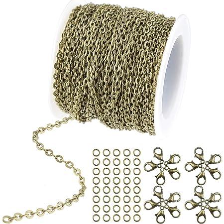 WXJ13 - Collana a catena rotonda placcata in bronzo, con 20 chiusure a moschettone e 30 anelli per collane, gioielli, accessori fai da te, larghezza 2,5 mm