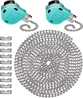 Jetec 2 Pack Ceiling Fan Switch 3 Speed ZE-268S6 and 10 Feet Beaded Pull Chain Extension with 10 Connectors for Ceiling Fans Lamps and Wall Lights (Silver Pull Chain)