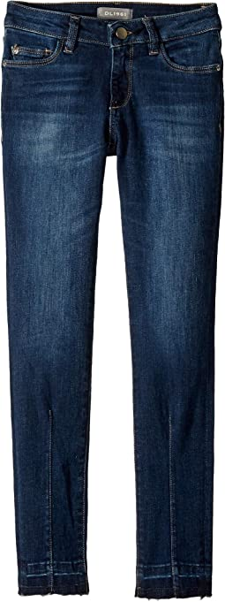 Chloe Mid Wash Skinny with Seam Detailing and Step Hem in Limelight (Big Kids)