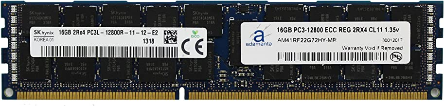 Adamanta 16GB (1x16GB) Server Memory Upgrade for Dell Poweredge & Precision Servers Hynix Original DDR3L 1600Mhz PC3L-12800 ECC Registered 2Rx4 CL11 1.35v P/N: SNP20D6FC/16G DRAM RAM