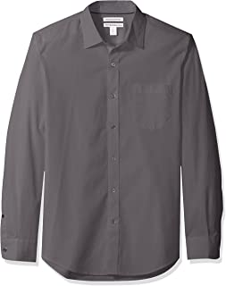 Men's Slim-Fit Long-Sleeve Solid Casual Poplin Shirt