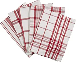 Ciroa Set of 5 Tea Towels Extra Large, Red and White Quality Cotton Cloths