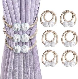 VEGCOO Lot de 6 Embrasses de Rideaux, Embrasses Rideau Aimantée Fenêtre à Billes Faux Perles Boucle de Rideau Pince pour D...