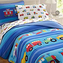 Lightweight Full Comforter Set, Olive Kids by Wildkin 100% Cotton Full Comforter, Embroidered Details, Includes Two Matching Shams, Coordinates with Other Wildkin Room Décor – Trains, Planes, Trucks