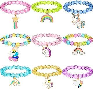 دستبند تک رنگ دخترانه دستبند تک شاخ Hicarer 9 قطعه دستبند تک رنگ شاخدار رنگین کمان دستبند مهره ای برای جشن تولد (سبک کریستال)