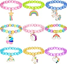 Hicarer 9 Pieces Colorful Unicorn Bracelet Girls Unicorn Bracelets Rainbow Unicorn Beaded Bracelet for Birthday Party Favo...