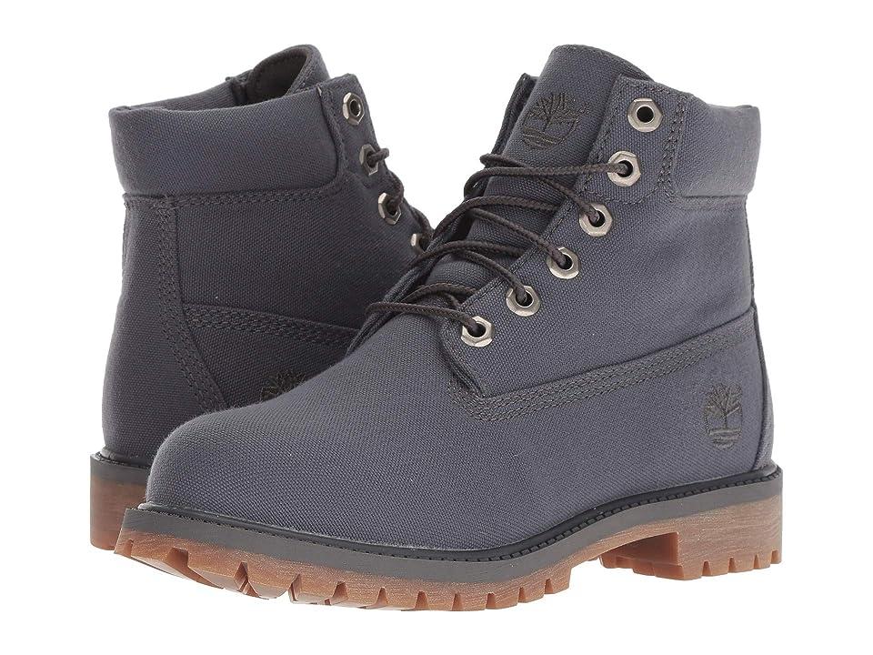 Timberland Kids 6 Premium Fabric Boot (Big Kid) (Dark Grey Canvas) Kids Shoes