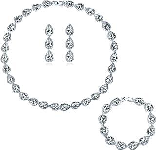 مجموعه جواهرات عروسی زنان مد MASOP برای عروس AAA Cubic Zirconia لباس مجلسی جواهر و جواهر گوشواره گردنبند