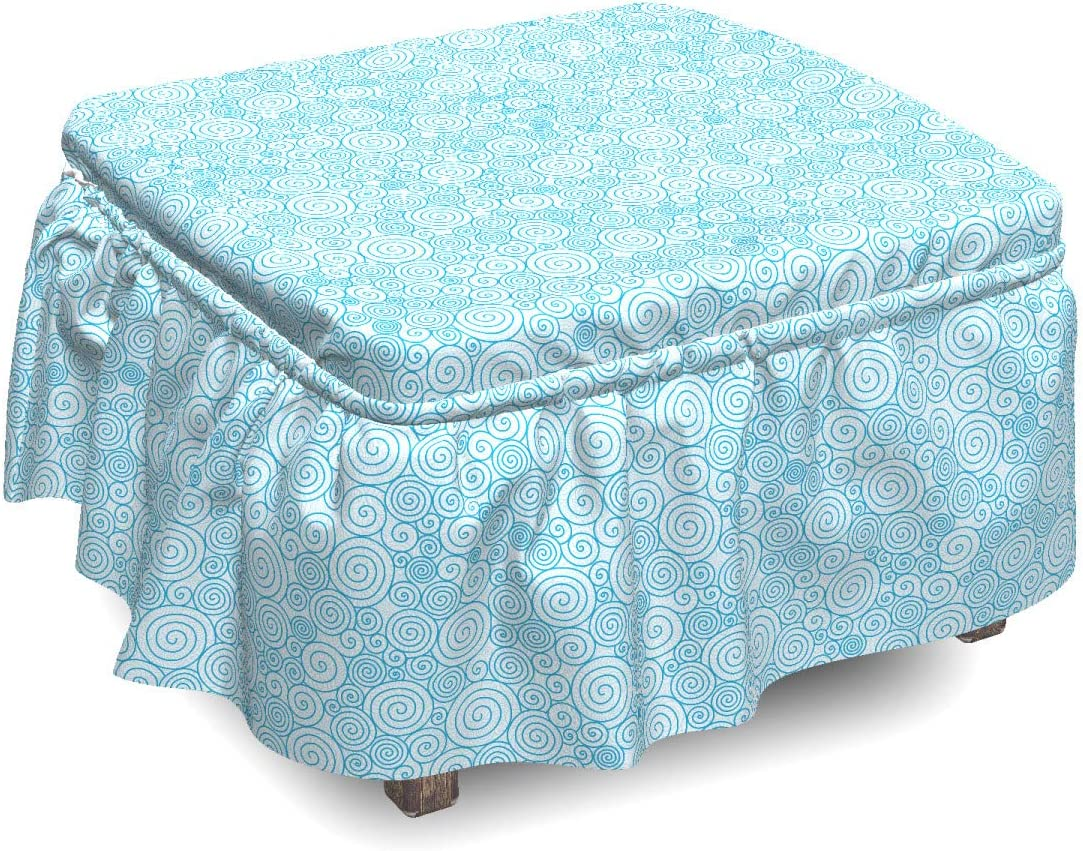 Ambesonne New Orleans Mall Blue and White Ottoman Cover Wave Dallas Mall Swirls 2 Piece Sea