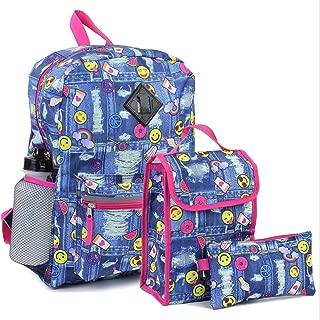 Girls Confetti Emoji 5 Piece Backpack Set. Denim/Emoji Style Print. Pack, Lunch Bag, Pencil Case & More