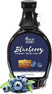 Green Jay Gourmet Blueberry Syrup - 3 Ingredient Premium Breakfast Syrup with Fresh Blueberries, Cane Sugar & Lemon Juice - All-Natural, Non-GMO Pancake Syrup, Waffle Syrup & Dessert Syrup - 8 Ounces