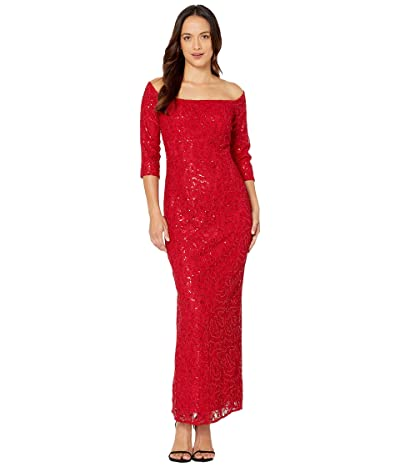 Alex Evenings Petite Long Off-the-Shoulder Sequin Lace Column Dress (Red) Women