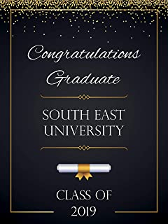Personalized Graduation Banner, University Graduation Poster, Class of 2019, Personalized Congraduation Party Banner Wall Décor, Handmade Party Supply Poster Print, Size 36x24, 18x24