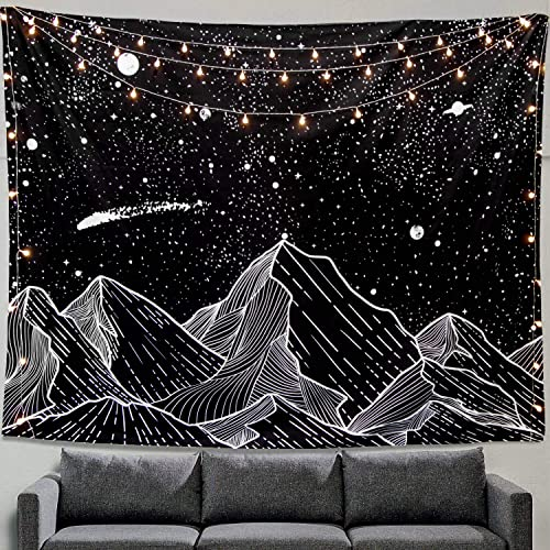 """Zussun Mountain Moon Tapestry Wall Hanging Stars Black and White Art Tapestry Home Decor (60"""" x 60"""")"""