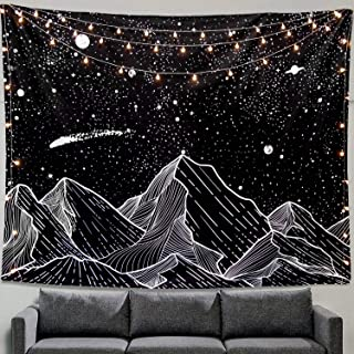 Romod Mountain Moon Tapestry Wall Hanging Stars Black and White Art Tapestry Home Decor