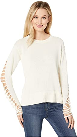 Drop Shoulder Cut Out Sleeve Sweater