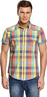 oodji Ultra Hombre Camisa a Cuadros Entallada de Manga Corta