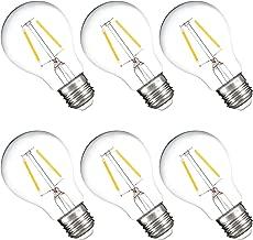 HyperSelect A19 LED Bulb, 19 Watt (3W) Filament, LED Lighting E26, 2700K, Non Dimmable, 6 Pack