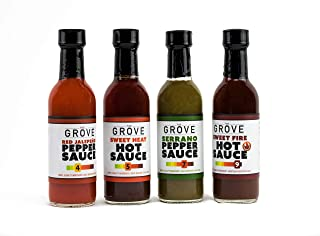 Hot Sauce Gift Set Four Pack Spicy Sauce Fans with Sweet Fire, Sweet Heat, Red Jalapeno Pepper Sauce & Serrano Pepper Sauce Extremely Spicy Hot Sauce Set Gluten Free Vegan