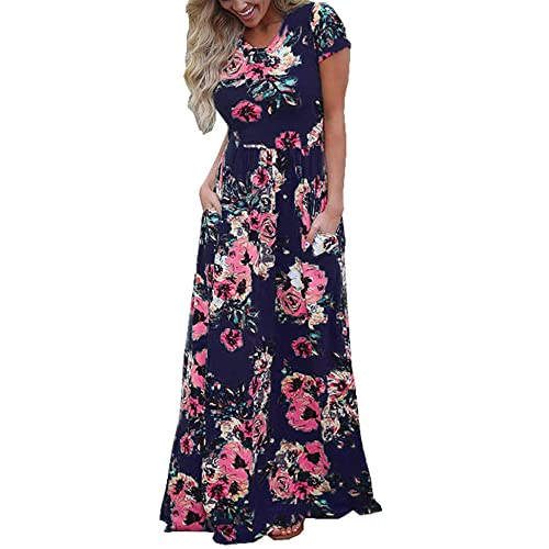 Navy Blue And Pink Flowers Maxi Dresses Amazon