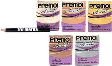 Tru Inertia Sculpey Premo Accents Oven Bake Clay 2 Ounce Variety Pack of 5 – 18K Gold, Copper, Rose Gold Glitter, Opal, Silver Clay Variety Pencil