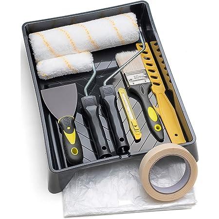 Tradelux® Rullo Per Pittura Professionale Teli Antigoccia Pennelli Set Kit Fai Da Te Verniciare Imbiancare Taglierino Spatola Stucco Per Tinteggiare Decorazioni Casa