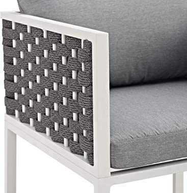 Modway Stance Outdoor Patio Woven Rope Dining Arm Chair in White Gray