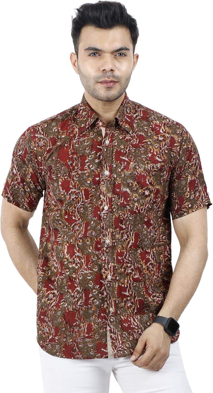 WINTAGE Hawaiano del Batik de algodón Jaipur Tropical Hombres de Camisa Casual - Rojo