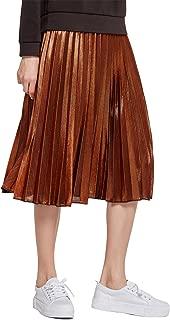 Women's Metallic Skirt High Stretchy Waist Pleated A Line Swing Skirt, Long and Short