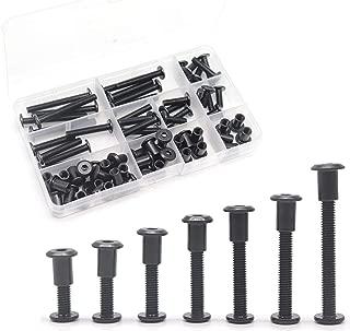 Black M6 Hex Drive Socket Cap Bolts Kit, binifiMux 35-Set Allen Head Countsunk Furniture Crib Bolts Nuts Kit, M6x15mm/ 20mm/ 25mm/ 30mm/ 35mm/ 40mm/ 50mm