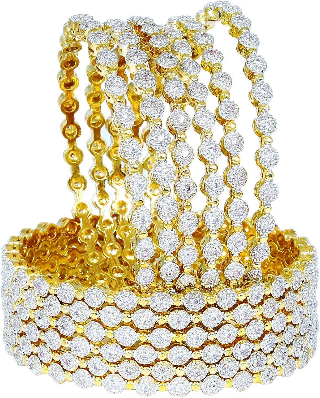 Sukh Collection Jewellery Indian Bollywood Gold Plated American Diamond Zircon Made 12 Pcs Bangle Bracelets Traditional Women Wedding Bridal Fashionable Beautiful Girls Jewelry