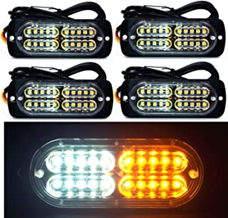 12-24V 20-LED Super Bright Emergency Warning Caution Hazard Construction Waterproof Amber Strobe Light Bar with 16 Different Flashing for Car Truck SUV Van - 4PCS (White Amber)