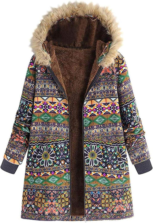 Women Vintage Floral Printed Coat Winter Warm Faux Fur Hooded Parka Jacket Boho Long Zipper Coats Outwear