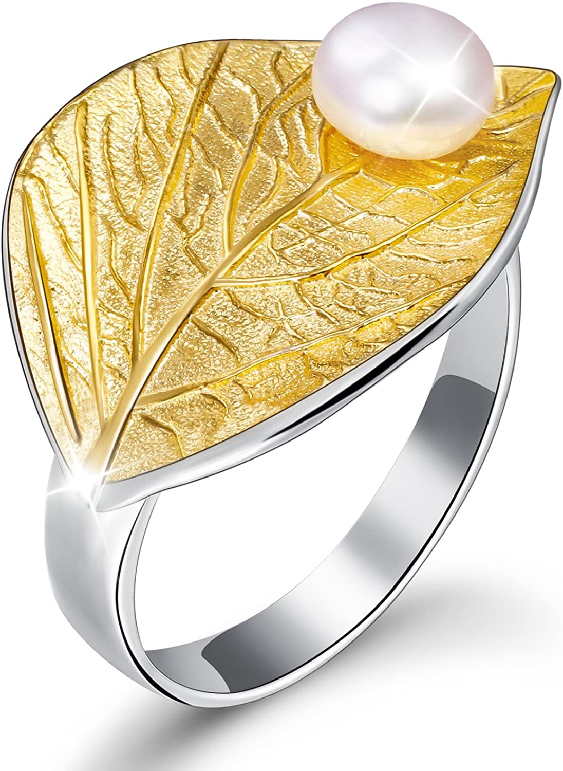 Lotus Fun 925 Sterling Silver Rings Leaf F with Ring Open Ranking TOP5 Now free shipping Autumn