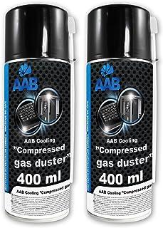 2 x AABCOOLING Bombe Air Sec 400ml, Bouteille Air Comprimé, Nettoyage des Ordinateurs, Dépoussiérant en Spray, Enlever la ...