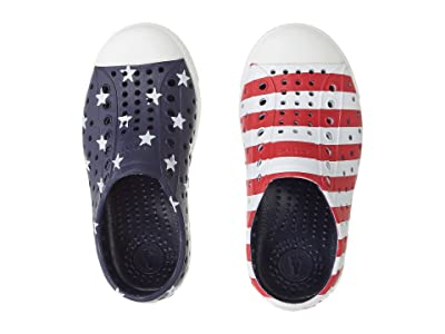 Native Kids Shoes Jefferson Stars and Stripes Print (Toddler/Little Kid) (Regatta Blue/Shell White/Stars Stripes) Kid