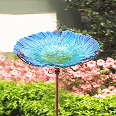 MUMTOP 26 Inch Height Glass Birdbath Birdfeeder with Metal Stake Garden Outdoor Blue