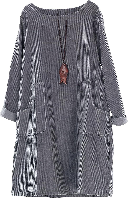 Minibee Women's Corduroy Free shipping / New Outstanding Dress Cotton Sweatshi Tunic Sleeve Long