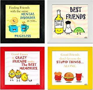 Indianara Set of 4 Quirky Friends Quote Framed Wall Hanging Laminated Paintings Matt Art Prints 9.5 inch x 9.5 inch each w...